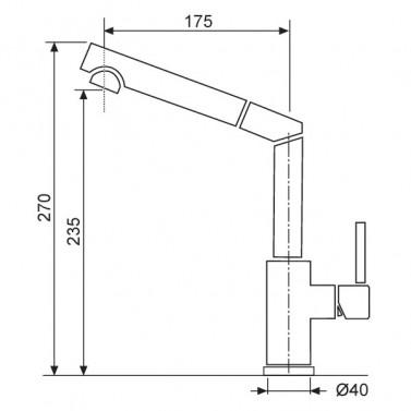 Dřezová baterie Sinks Armando MIX 350 P Chrom nákres