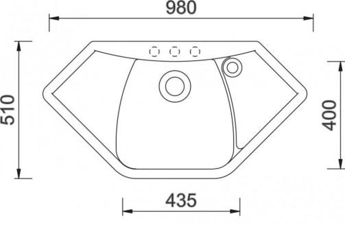 Granitový dřez Sinks TELMA NAIKY 980 metalblack, nákres