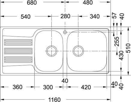 Nerezový dřez Franke GOX 651/7 nákres