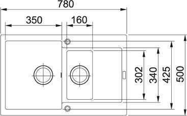 Granitový dřez Franke MRG 651-78 nákres