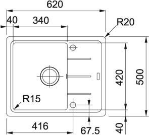Granitový dřez Franke BFG 611-62 Nákres