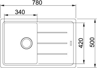 Granitový dřez Franke BFG 611-78 nákres