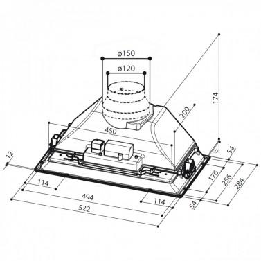 Digestoř Faber Inca Smart HC X A52 technický nákres