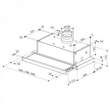 Technický nákres Flexa HIP GR/X A60