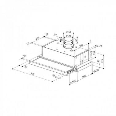 Technický nákres Flexa GLASS W A60