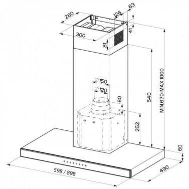Technický nákres STILUX EG8 X/V A60
