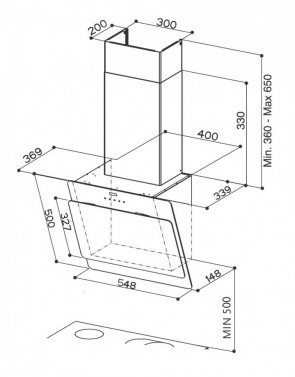 Technický nákres COCKTAIL XS EG6 WH A55