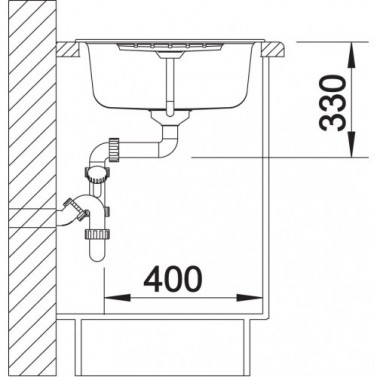 Granitový dřez Blanco ZIA 45 S, nákres