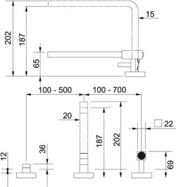 Dřezová baterie Franke FG 7427.149 nikl, nákres