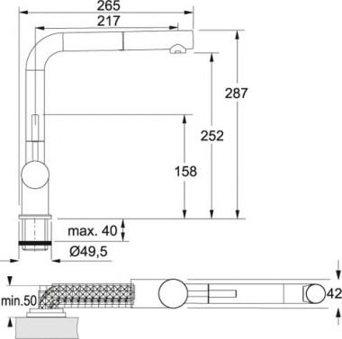 Dřezová baterie Franke FG 6560.031 nákres