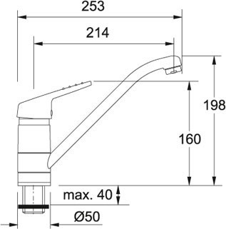 Dřezová baterie Franke FG 4500.031 chrom nákres