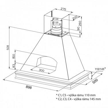 Technický nákres Agora WB A90 s rámem