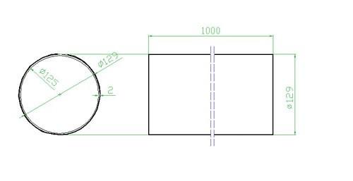 Potrubí kulaté 125 x 1000 mm