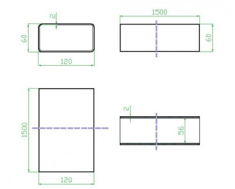 Technický nákres Potrubí obd. 120x60x1500 (7015)