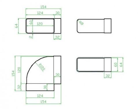 Horizontální koleno 90 systém 100 mm č.2