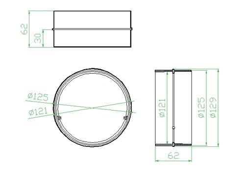 Spojka pro kulaté potrubí - systém 125 mm č.2