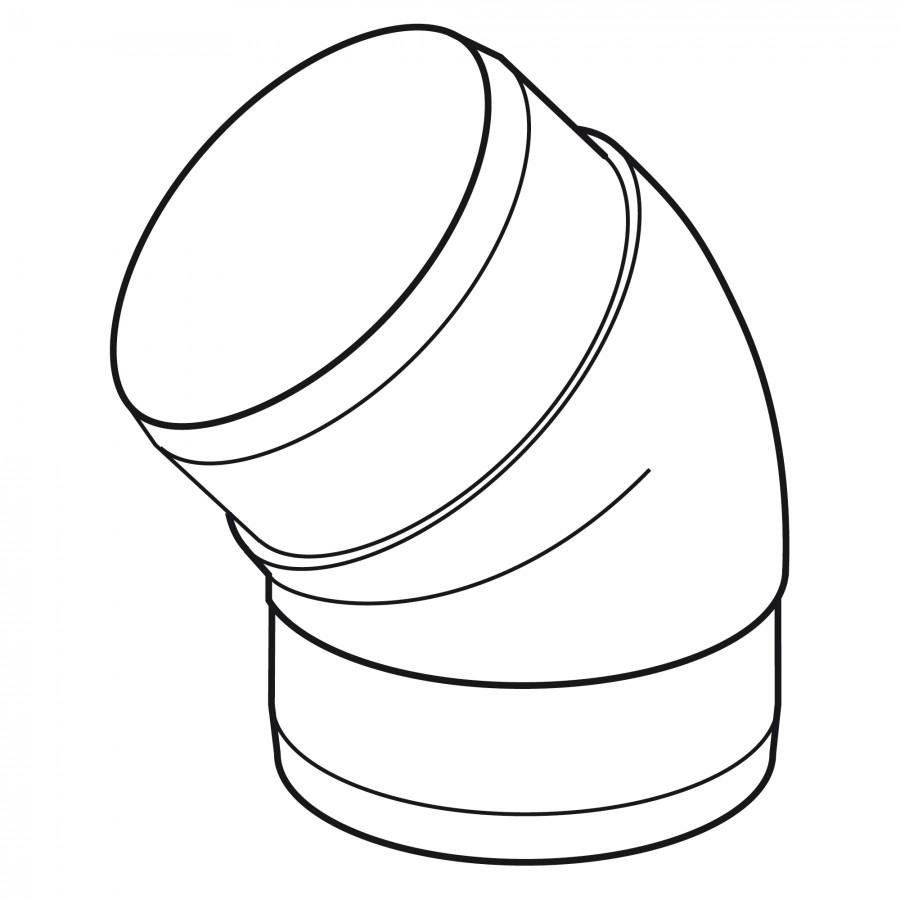 Koleno 45 st. kulaté - systém 125 mm