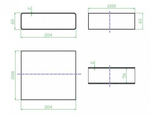 Potrubí ploché 1m - systém 125 mm