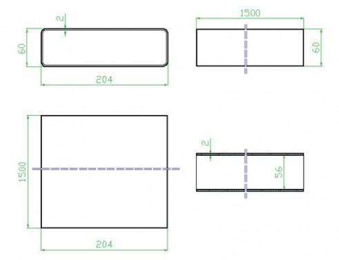 Potrubí ploché 1,5m - systém 125 mm