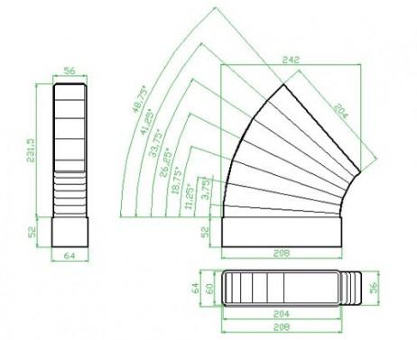 Oblouk horizontální - systém 125 mm č.2