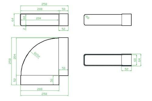 Koleno horizontální 90st - systém 125 mm č.2