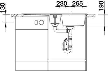 Granitový dřez Blanco METRA 6 S  nákres