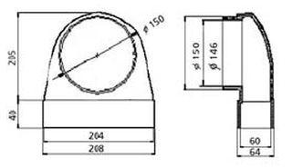 Přechodové koleno 90 st - systém 150 mm č.1