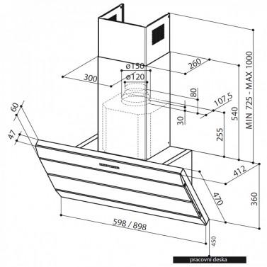 Technický nákres Orizzonte Plus Vetro EG8 X/V A60 LOGIC
