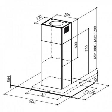 Technický nákres GLASSY ISOLA SP EG8 X/V A90