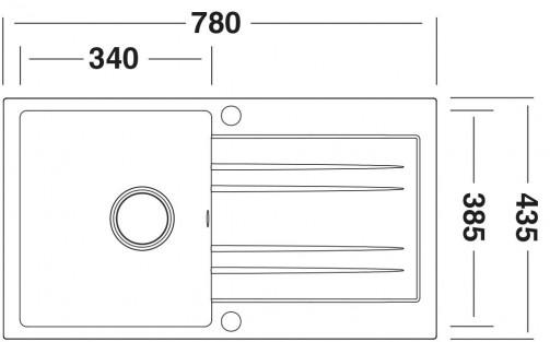 Granitový dřez Sinks SGR Rapid 780 grandblack, nákres