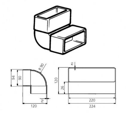 Koleno vertikální 90st. - systém 150 mm č.2