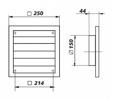 Technický nákres Mřížka se žaluziemi 150 (3249:MV250/150 VJ)