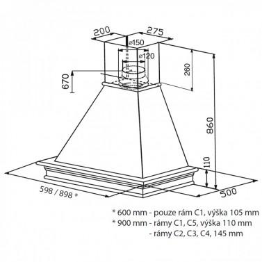 Technický nákres RANCH WB A60 s rámem