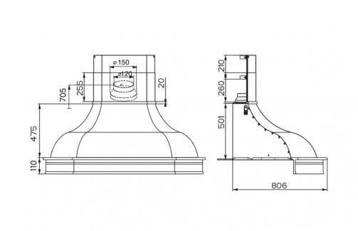 Technický nákres West Angolo WB A100 s rámem