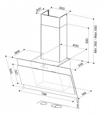 Technický nákres COCKTAIL EG8 WH A80