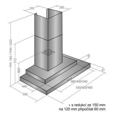 Digestor EMPIRE VIP KD 506060 technický nákres