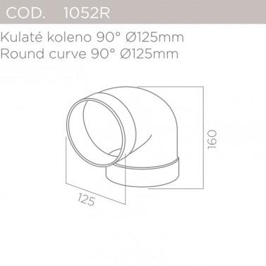 Kulaté koleno 90°, pr.125mm ELICA 1052R