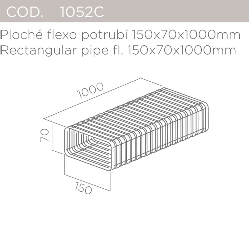Ploché flexo potrubí 150x70x1000mm ELICA 1052C