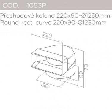 Přechodové koleno 220x90-pr.150mm ELICA 1053P
