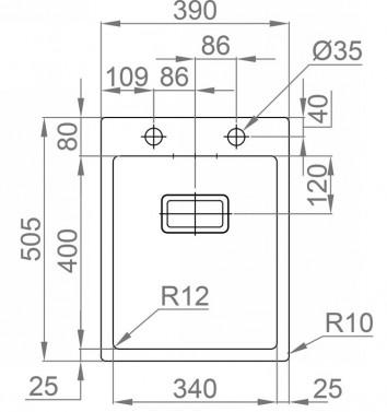 Nerezový dřez Sinks Rodi BOXER 390 FI nákres
