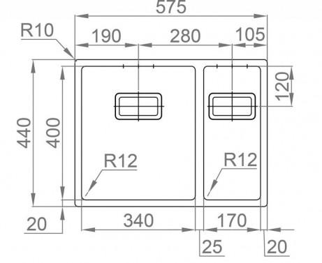 Nerezový dřez Sinks Rodi BOX 585.1 nákres