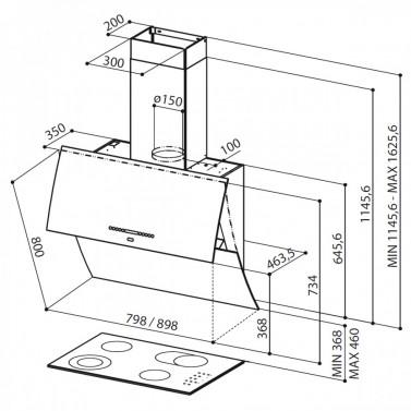 Technický nákres Mirror BRS X/V BK A80 Logic