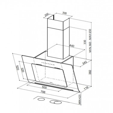 Technický nákres INFINITY ALMOND A80
