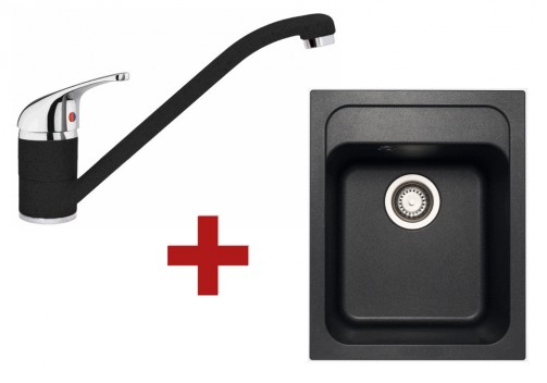 Sinks CLASSIC 400 Metalblack + Sinks CAPRI 4 - 74 Metalblack