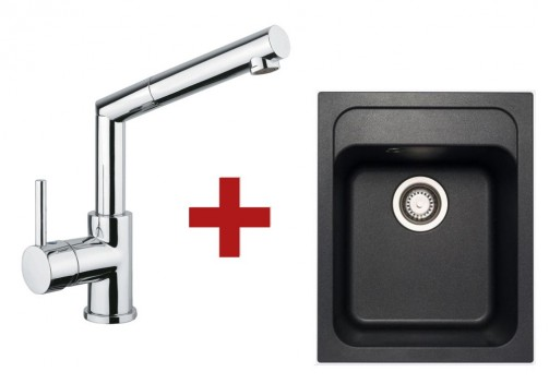 Sinks CLASSIC 400 Metalblack + Sinks MIX 350 P lesklá