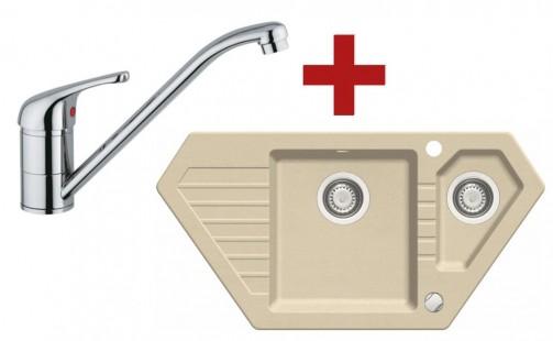 Sinks BRAVO 850.1 Beige + Sinks VENTO 4 lesklá