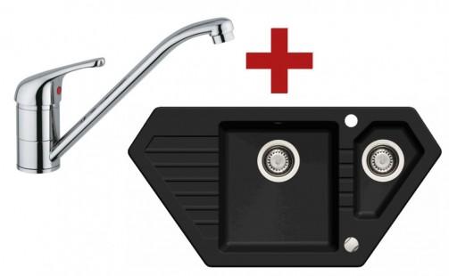Sinks BRAVO 850.1 Granblack + Sinks VENTO 4 lesklá