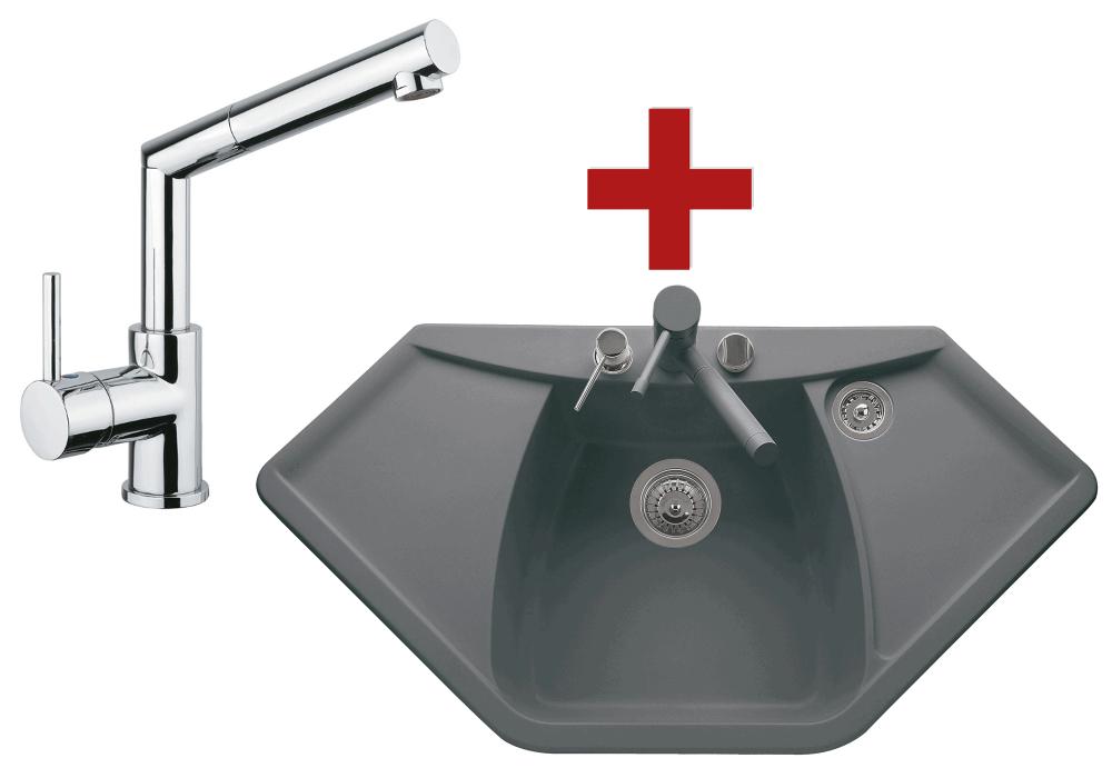 Sinks Naiky 980 Titanium + Sinks Mix 350 P lesklá