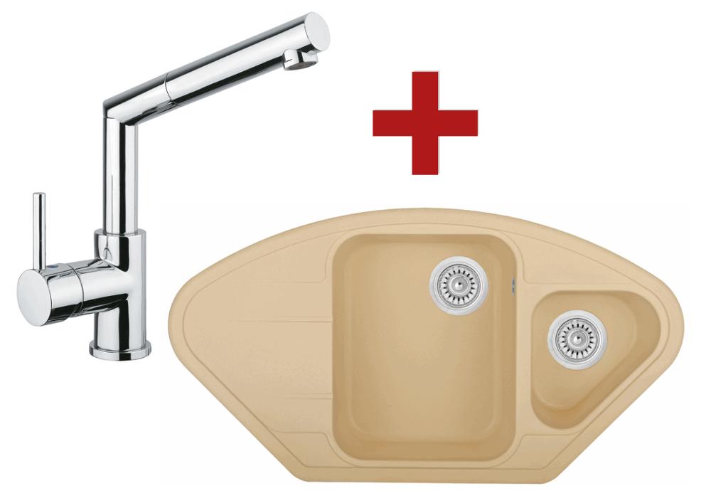 Sinks NAIKY 980 Sahara + Sinks MIX 350 P lesklá
