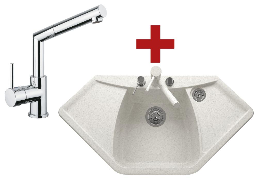Sinks NAIKY 980 Milk + Sinks MIX 350 P lesklá